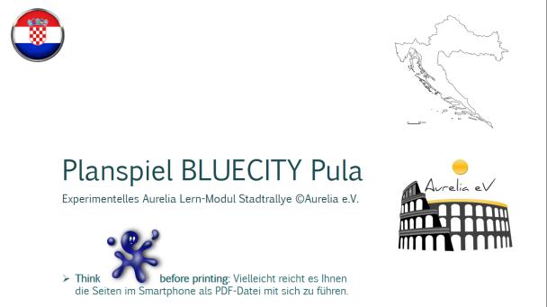 BLUECITY Stadtplanspiel/Stadtrallye Pula - Tschechien
